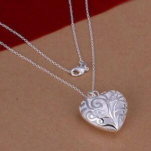solid-925-wedding-silver-fashion-women-heart-cute-women-necklace-Jewelry-N224