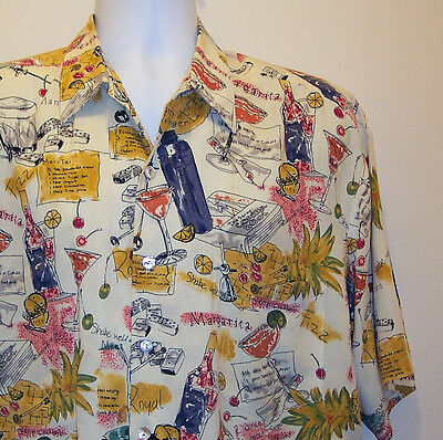 Tori Richard Size Large Hawaiian Shirt Cream Cocktails Tiki Drinks