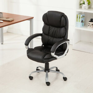 PU-Leather-Office-Rolling-Computer-Chair-Black-Mocha-High-Back-Executive-Desk