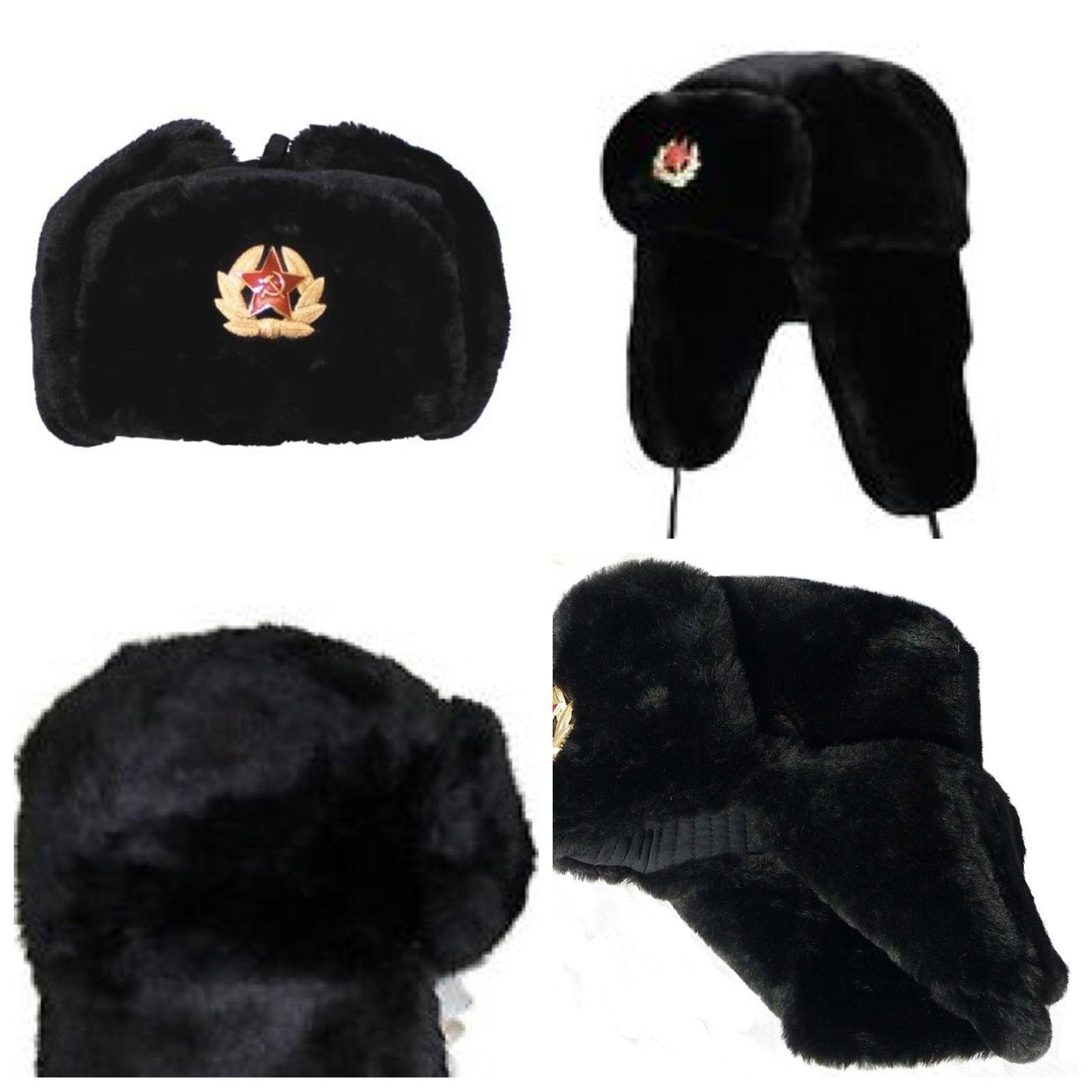 Russisch Trapper-Hut Kappe Sowjet Abzeichen Kunstpelz Ushanka Kosake Klappen