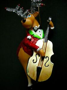 Reindeer Cello Christmas Ornament Jazz Musician Sparkle Resin 6