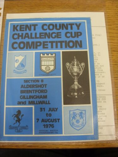 31071976 Kent County Challenge Cup Competition Official Tournament Programme,