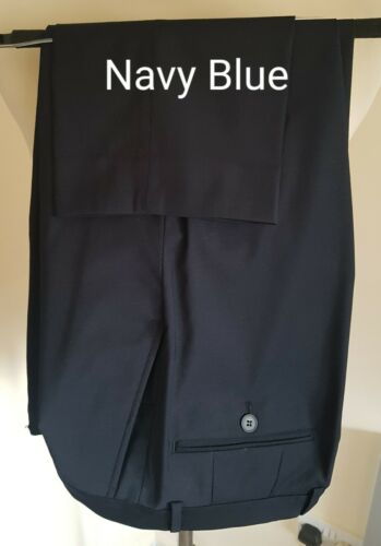 New Men/'s Size 40 Long Navy Blue  Poly Wool Stretch Tapered Trouser Slim Fit