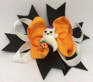 Halloween Hair Bow Orange Black Purple Baby Hair Bow Headband Child Witch Ghost