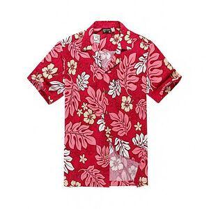 Men-Tropical-Hawaiian-Aloha-Shirt-Cruise-Luau-Beach-Party-Red-Pink-Leaf-Floral