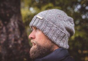 Grey-Wool-Knit-Handmade-Men-Beanie-New-Hat-Warm-Winter-Cap-Gifts-For-Him-Husband
