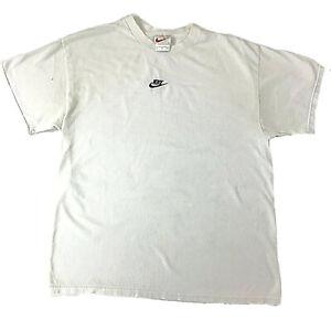 Mens-NIKE-Vintage-Embroidered-Check-T-Shirt-White-Large-Travis-Scott-Mini-Swoosh