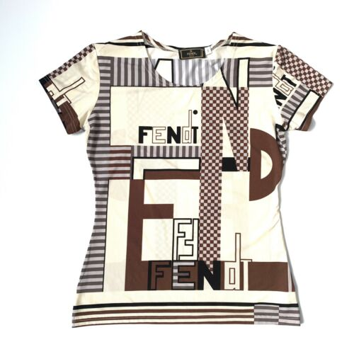 Fendi Vintage Zucca Logo Short Sleeve Top T-shirt
