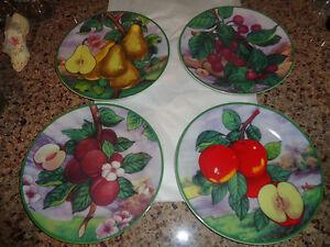 Image is loading Set-of-4-Elite-Decor-Fruit-Decorative-Plates- & Set of 4 Elite Decor - Fruit Decorative Plates - Pear - Apple ...