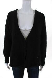Haute-Hippie-Womens-V-Neck-Open-Back-Fringe-Cardigan-Black-Wool-Size-XS-Small