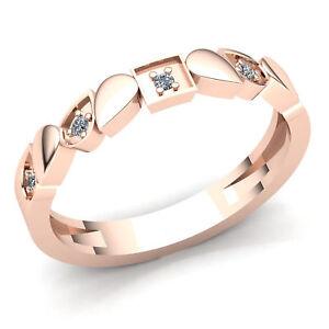 Natural-0-1ct-Round-Diamond-Ladies-Stackable-Anniversary-Wedding-Band-10K-Gold