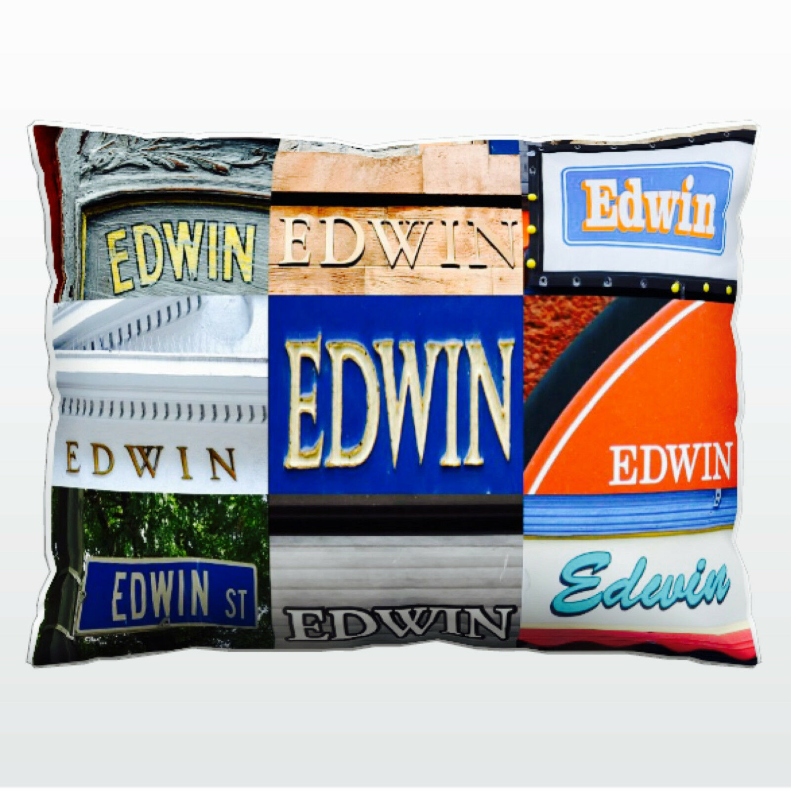 Personalized Pillow featuring the name name name EDWIN in photos of actual signs cf3049