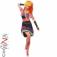 80s Fun Girl Costume Cyndi Lauper Fancy Dress Outfit Ladies Womens UK Size 8-18