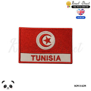 TUNISIA-National-Flag-With-Name-Embroidered-Iron-On-Sew-On-Patch-Badge