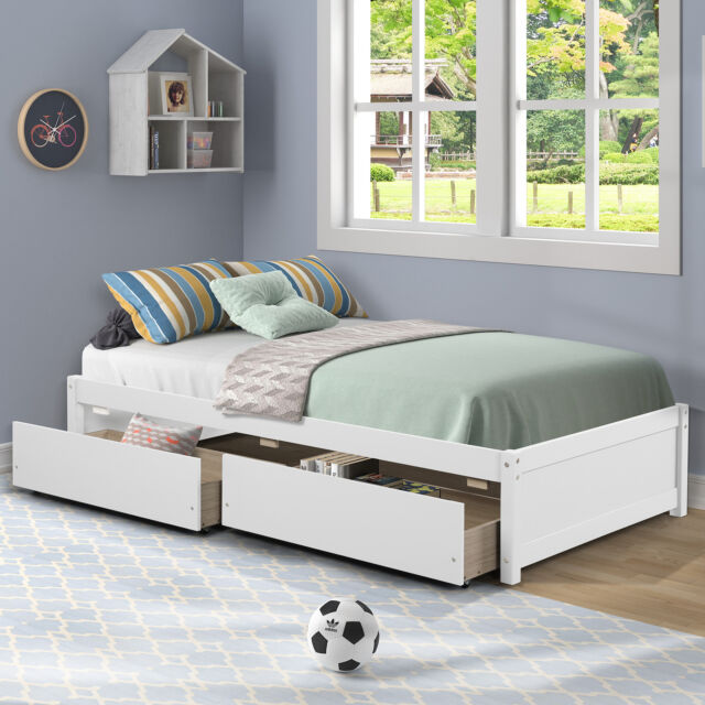 Queen Size Contemporary White Platform, Queen Size White Platform Bed With Drawers
