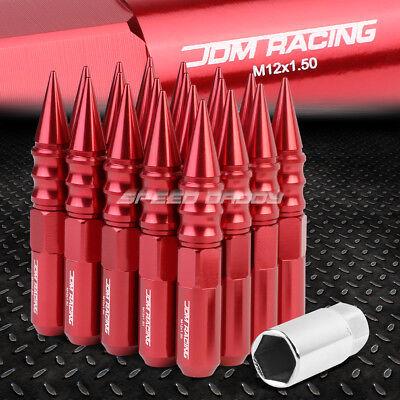 JDM STEEL RED M12X1.5 22MM OD SPIKED CAP 75MM RIM LUG NUTS 20PCS//SET+ADAPTER