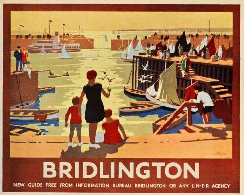 Rail Bridlington rétro étain signe plaque murale//Aimant de réfrigérateur voyage vintage