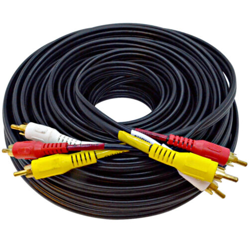 Seismic Audio 50 Foot 3 RCA Composite Audio Video RG59 Cable Heavy Duty