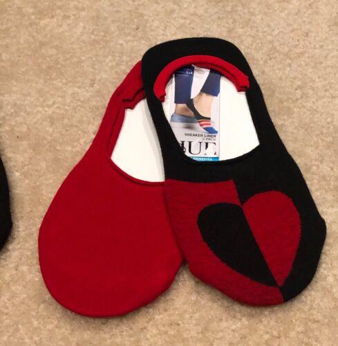 2-2 Pair Pack HUE Women/'s Low Cut Sneaker Liner Heart//Love Socks Silicone Back