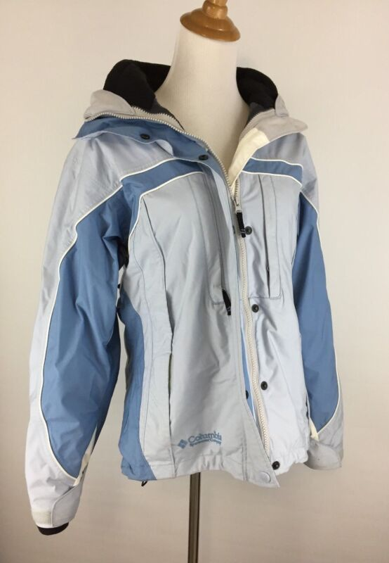 Columbia Womens M Medium Blue White Black Omni Shield Interchange Hood Jacket