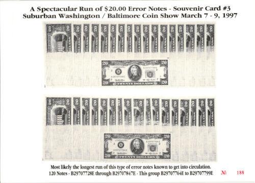 1997 Baltimore Coin Show Souvenir Card - $20.00 FRN Error Note Run #3 - BLT 2