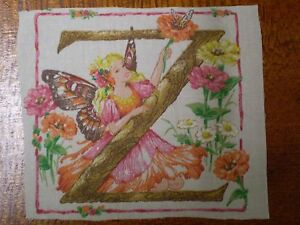 Vintage FAIRY Alphabet Letter /'K/' Fabric Panel 17cm x 14cm