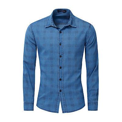 New Men/'s Fashion Button Plaids Luxury Casual Slim Fit Stylish Dress Shirts 6286