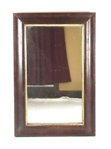 Antique Victorian 19th C Mahogany Veneer Empire Ogee Picture Frame Mirror