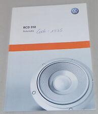 Manuel d´ Entretien VW Radio RCD 310 für Polo Golf Passat 04/2010 französisch
