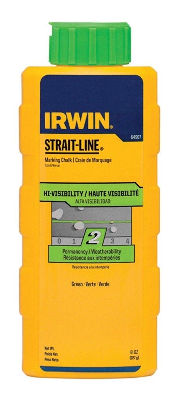 8x Irwin STRAIT-LINE MARKING CHALK 8oz Hi-Visibility, Flip-Top Cap GREEN