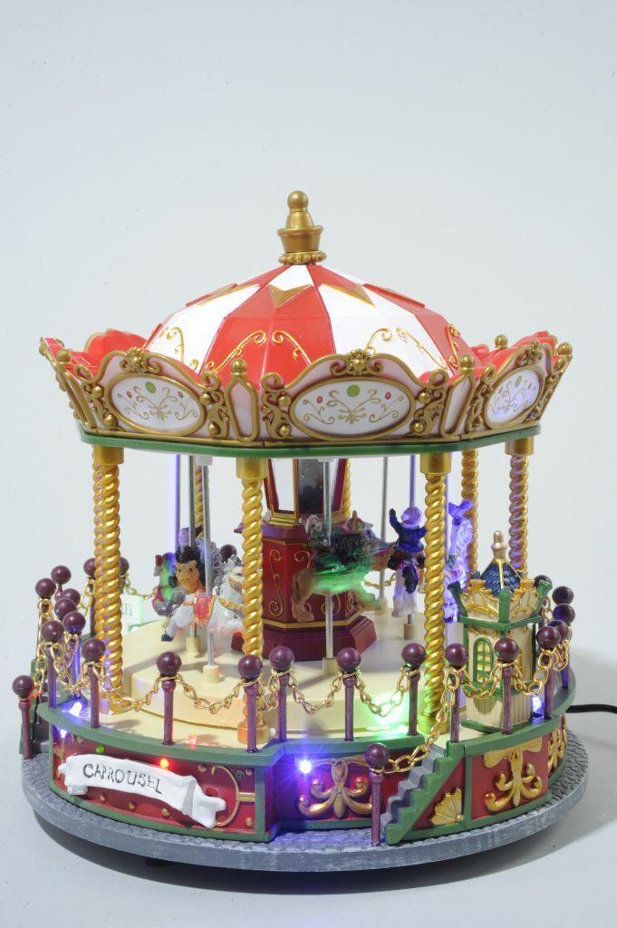 Christmas Decoration - Musical LED Fibre Optic Zoo Animals Fairground Carousel