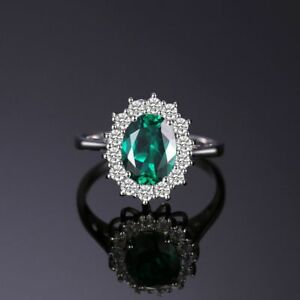 Princess Diana William Kate Middleton Emerald Ring Solid