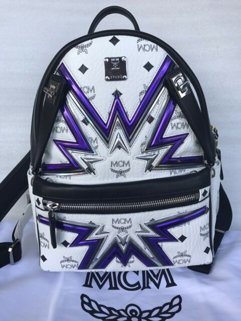 9aacdc95aa3b Authentic MCM Backpack White Visetos Dual Stark Cyber Flash, Small, $1150  NEW
