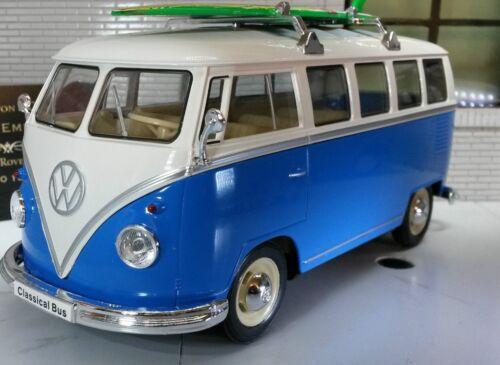 VW Teilung 1963 T1 Zelter Surfer Bus 1:24 Druckguss Blau Modell 22095b Welly
