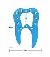 Dental Teeth Shape Wall Clock For Clinic Decoration Dentist Blue Us Stock