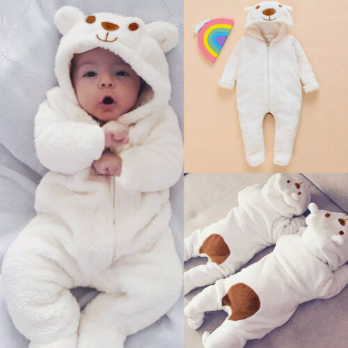 Newborn Infant Baby Boy Girl Warm Hooded Cartoon Flannel Romper Jumpsuit Clothes