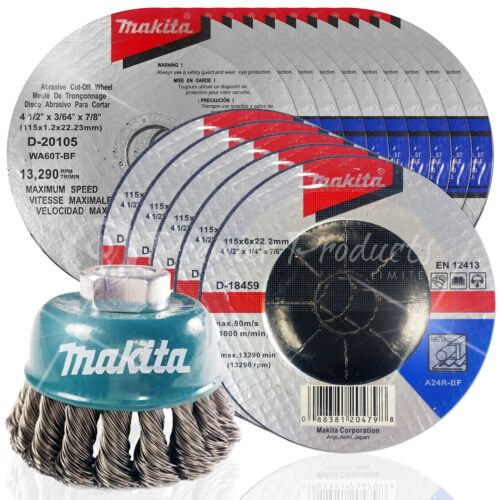 "4.5/"" Grinding /& Cut Off Wheel Wire Cup Set For Grinders Makita 16 Piece"