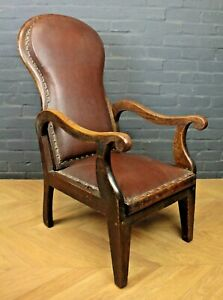 Peachy Details About Antique 1920S Oak Faux Brown Leather Reclining Armchair Fireside Chair Machost Co Dining Chair Design Ideas Machostcouk