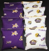 Cornhole Beanbags Made W Louisiana University Lsu Tigers Fabric Double Sided