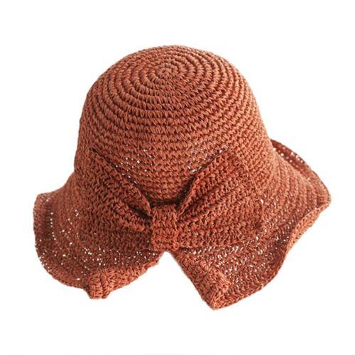 Women Summer Adjustable Raffia Bow Sun Hats Beach Straw Sunhat Wide Brim Floppy