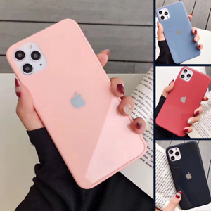 Genuine-Real-Glass-Case-For-iPhone-11-Pro-Max-XS-XR-8-7-6-Liquid-Cover-Silicone