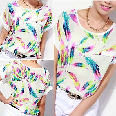 Fashion Women Loose Short Sleeve Shirt Print Chiffon Blouse Cute tops O-Neck HOT