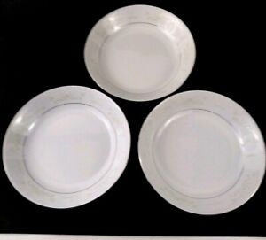 Lot-of-3-Vintage-Crown-Ming-Jian-Shiang-Diana-Soup-or-Salad-Bowls-White-amp-Silver