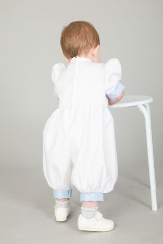 Baby Boys Christening Outfit Christening Suit Romper White Blue Diamond New