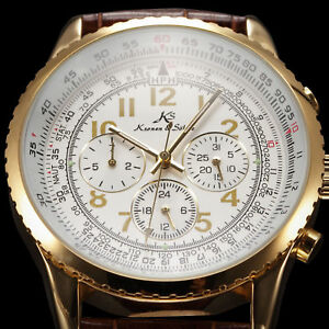 Aviator-KS-Luxury-Mens-White-Automatic-Mechanical-Date-Leather-Sport-Wrist-Watch