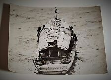 "1960's China Hong Kong Junk Boat Black & White Photograph 7"" by 9"""