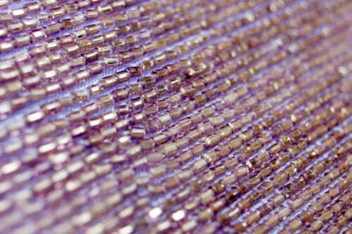 10 metres × 10mm Wide Organza with Lilac Bugle Beads Insertion Trim