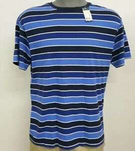 Daniel-Cremieux-Navy-Blue-Striped-Crew-S-S-Men-039-s-Shirt-NWT-40-Choose-Size