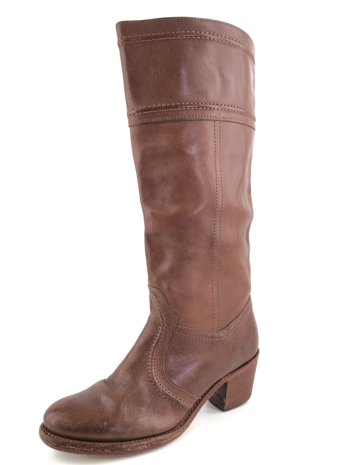 FRYE Jane 14L Cognac Leather Knee High Riding Boots Women's Size 7 M