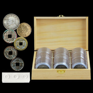 46mm-Round-Coin-Capsule-with-Wooden-Storage-Box-Inner-Pad-Collection-Holder-Case